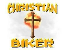 Custom Made T Shirt Christian Biker Cross Flames Religion Ride Rider Awesome