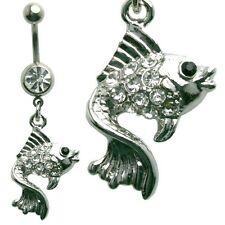 Multi Jewel Goldfish CZ Body Dangle Belly Ring Surgical Steel