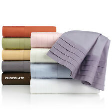 Colin Cowie 450 Thread Count 100% Cotton 4PC Pleated Bedding Sheet Set NEW