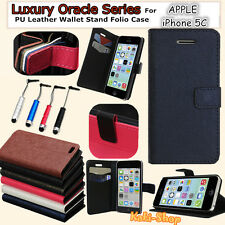 New Luxury Oracle Series PU Leather Wallet Stand Folio Case For Apple iPhone 5C