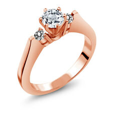 0.73 Ct Round White Topaz Diamond 925 Rose Gold Plated Silver 3-Stone Ring
