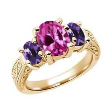 3.30 Ct Oval Pink Created Sapphire Purple Amethyst 14K Yellow Gold 3-Stone Ring