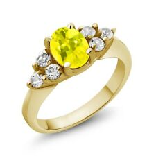 1.50 Ct Oval Canary Mystic Topaz White Diamond 14K Yellow Gold Ring