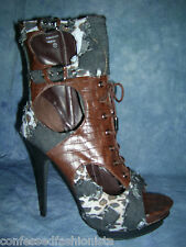 GORGEOUS HOT DENIM AND BROWN LEATHER LIKE OPEN TOE BOOTIES BY WILD ROSE
