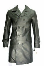 MENS CLASSIC GERMAN MILITARY STYLE BLACK HIDE KNEE LENGTH REAL LEATHER  COAT
