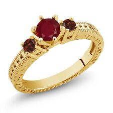 0.80 Ct Round Red Ruby Garnet 18K Yellow Gold Plated Silver 3-Stone Ring