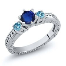 0.90 Ct Simulated Sapphire Swiss Blue Topaz 925 Sterling Silver 3-Stone Ring