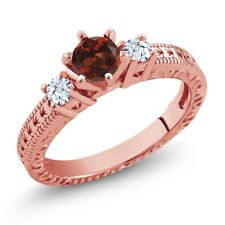 0.88 Ct Round Red Garnet White Topaz 18K Rose Gold Plated Silver 3-Stone Ring