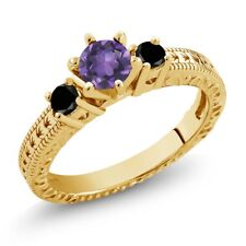 0.69 Ct Purple Amethyst Black Diamond 18K Yellow Gold Plated Silver 3-Stone Ring