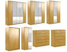 Prague Oak Effect Bedroom Furniture Wardrobes and Chest of Drawers