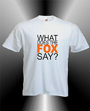 WHAT DOES THE FOX SAY - ORANGE PRINT YLVIS NORWEGIAN YOUTUBE  MENS FUNNY T-SHIRT