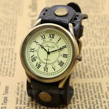 Vintage Leather Bracelet Quartz Wrist Watch Men Boys Roma Number Dial 6 Color