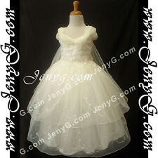 #PB01 Flower Girls/Holiday/Formal/Pageant/Party Dress Gown, Ivory 3-14 Years