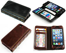 For Iphone 5S Antique Leather Retro Old Classic Vintage Book Case Cover Wallet