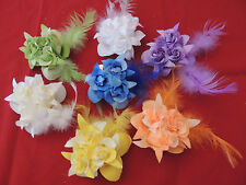 PICK 1 ROSE HAIR BOW clip GLITTER feather SPRING wedding BRIDAL prom PAGEANT NEW