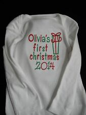 New Custom Baby My 1st First Christmas One piece long Sleeve  Boys Girls & Name