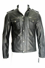 NYPD MENS FASHION CELEBRITY CLASSIC FILM  RETRO STYLE BLACK REAL LEATHER JACKET