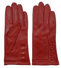 New Womens Ladies Soft Lined Genuine Leather Winter Dress Driving Gloves RED