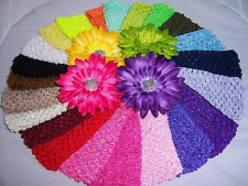 "3"" WIDE crochet HEADBANDS for GERBER daisy flowers or KORKER hair bow BRIGHT"