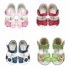 NEW Girls Leather Sandals sz 0-5 Approx: 3M - 24M Whi-Pink-Red-Silver-Navy-Green