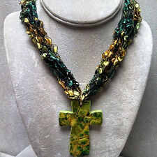 """Hand-Crocheted Washable 12-24"""" Multi-Colored Ribbon Necklaces with Cross Pendant"""