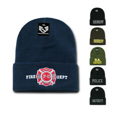 US Law Enforcement Police Fire Dept Long Cuffed Beanies Knit Caps Hats Winter