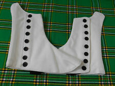 BRAND NEW HIGHLAND PIPER WHITE SCOTTISH KILT SPAT WITH BLACK BUTTONS SIZES 7-13
