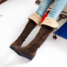 Women ladies thick sole lace up shoes casual the over the knee thigh boots CY21