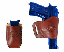 Barsony Burgundy Leather Yaqui Gun Holster w/Mag Pouch for Glock HK FN Full Size