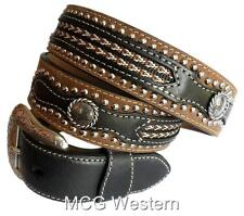 Nocon Western Mens Belt Leather Laced Overlay Studs Conchos Brown N2417802