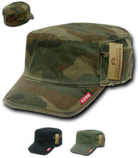 Vintage BDU Military Army Fatigue Zipper Distressed Cadet French Camo Caps Hats