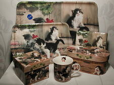 Fine Bone China Tasse-Tablett-Servietten KITTIES MEETING zur Auswahl! Katzen