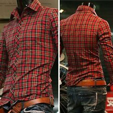 New Luxury Fashion long sleeve Men's Casual Slim Fit Formal Dress Shirts IN S~XL