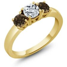 1.12 Ct Round White Topaz Brown Smoky Quartz 925 Yellow Gold Plated Silver Ring