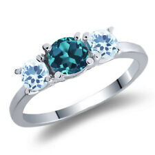 1.21 Ct Round London Blue Topaz Sky Blue Topaz 925 Sterling Silver 3-Stone Ring