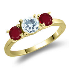 1.05 Ct Round Sky Blue Aquamarine Red Ruby 925 Yellow Gold Plated Silver Ring