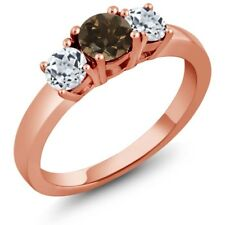 1.12 Ct Round Brown Smoky Quartz White Topaz 925 Rose Gold Plated Silver Ring
