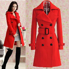 2013 Women's Red trench slim winter warm coat long wool jacket outwear with belt