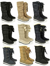 WOMENS LADIES FLAT SNOW MOON JOGGERS SKI YETI FUR WINTER LACE SHOES BOOTS SIZE