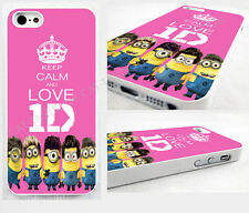 KEEP CALM & LOVE MINIONS/1D one direction  iPhone 4,4s,5,5s,5C CASE COVER MINION
