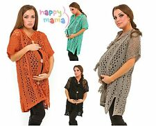 Maternity Pregnancy Short Sleeve Crochet Knitted Cardigan Wrap Cape Sweater 426