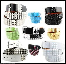 New Unisex 3Row Metal Pyramid Studded Leather Belt Men Womens Punk Rock Goth Emo