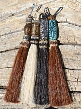 """100% Natural Horsehair Zipper Pull with Beads - Various Colors - 4 1/2"""""""
