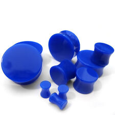 (8G - 1 Inch) 1 Pair of Blue Plugs Double Flare - Pick Your Ear Gauge Size