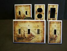 OLD WORLD MAP AND SHIP NAUTICAL LIGHT SWITCH OR OUTLET COVER V445