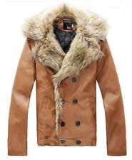 NEW Mens Slim leather jackets double-breasted thick Lapel Cotton coat Jacket fur