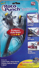 ROTO PUNCH Complete Home Mending Solution! 5 Different Hole Sizes ~As Seen On TV