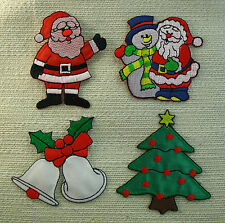 CHRISTMAS Embroidered Iron On Patches 4 Designs Santa Snowman Bells Tree