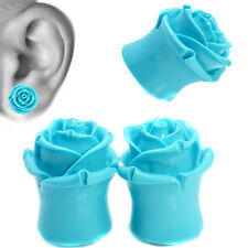 Turquoise Eden Rose Resin Ear Tunnel Plugs Flared