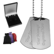 Two Heavy Polished Steel Dog Tags Personalised Gift Birthday Christmas Present